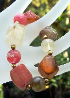 Cherry Quartz Nugget Stretch Bracelet