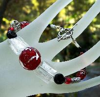 Red Black & White Foil Glass bracelet