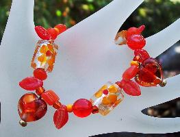 Orange Millefiore Hearts Bracelet