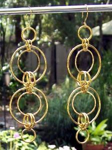 Long Gold Ring Earrings
