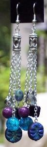 Sold Blue & Purple Silver Dangle Earrings