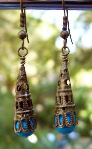 Turquoise & Antique Bronze Earrings