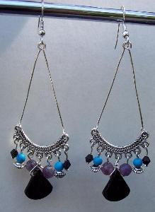 Amethyst Turquoise & Black Earrings