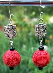 Red Carved Cinnabar & Silver Earrings