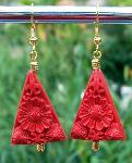 Red Cinnabra Triangle Earrings