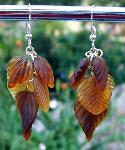 Sold  Amber Brown Glass Leaves Earrings