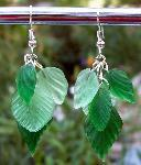 Green Glass Leaves Earrings