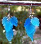 Light Blue Glass Leaf Earrings