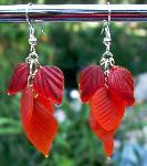 Red Glass Leaves Earrings