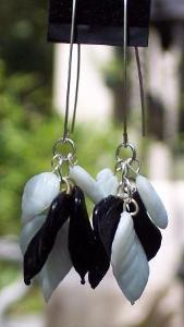 Sold   Black & White Glass Earrings