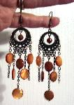 Sold  Bronze & Amber Shell Dangle Earrings