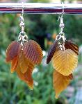 Amber Brown Leaves Earrings