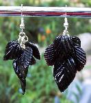 Black Glass Leaves Earrings