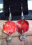 Red Shell & Silver Filigree Earrings