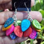 Sold  Rainbow Shell Leaves Earrings