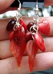 Red Hearts Leaves Earrings