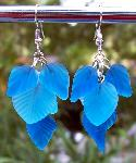 Blue Glass Leaves Earrings