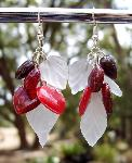 Red Hearts & Frosted Glass Leaf Earrings