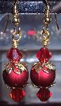 Swarovski Ruby Crystals & Gold Ornament Earrings