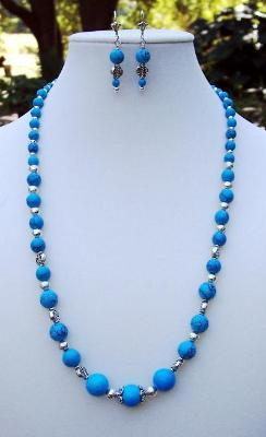 Turquoise & Silver Necklace & Earring Set