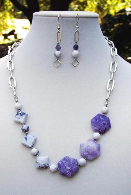 Charite & Howlite Necklace & Earring Set