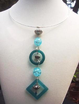 Contemporary Glass & Silver Necklace