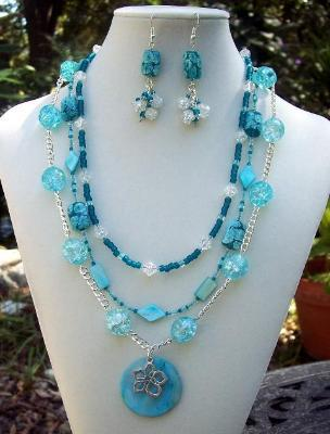 Handmade Aqua Floral Crackle Necklace Bracelet & Earring Set