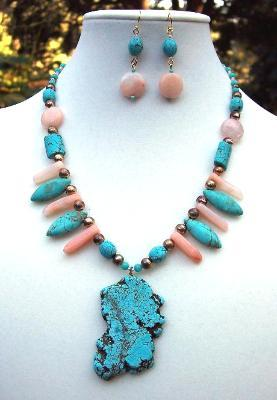Sold  Turquoise & Aventurine Handmade Necklace & Earring Set