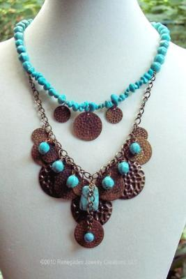 Sold   Turquoise & Bronze Handmade Necklace & Earring Set