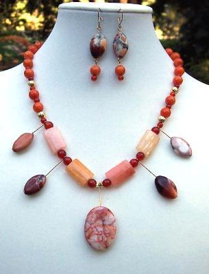 """Sunburst"" Australian Jade, Carnelian & Jasper Necklace & Earring Set"