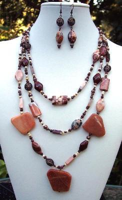 Jasper & Carnelian 3 Strand Necklace & Earring Set