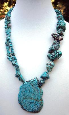 Turquoise Slab & Nugget Necklace