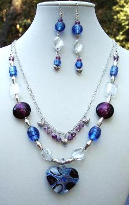 Sold  Blue & Purple Heart Necklace & Earring Set