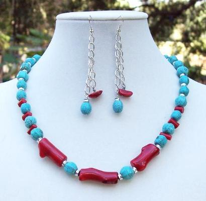 Coral & Turquoise Necklace and Earring Set
