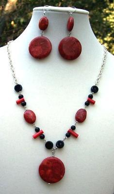 Sold  Red Coral Necklace & Earring Set