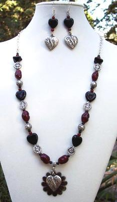 Sold Red Black & Pewter Heart Necklace & Earring Set