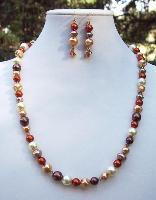 Swarovski Crystal & Glass Pearl Necklace & Earring Set