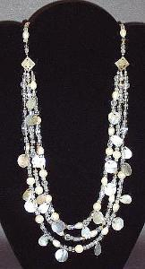 3 Strand Reversible Shell & Crystal Necklace