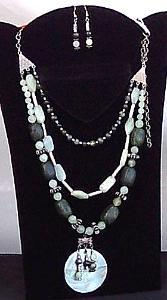 3 Strand Kambala Jasper Necklace & Earring Set