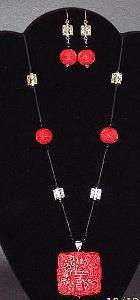 Red Cinnabar & Silver Necklace & Earrings Set