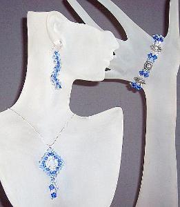 Swarovski Crystal Necklace Bracelet & Earring Set. Available in custom color combinations.